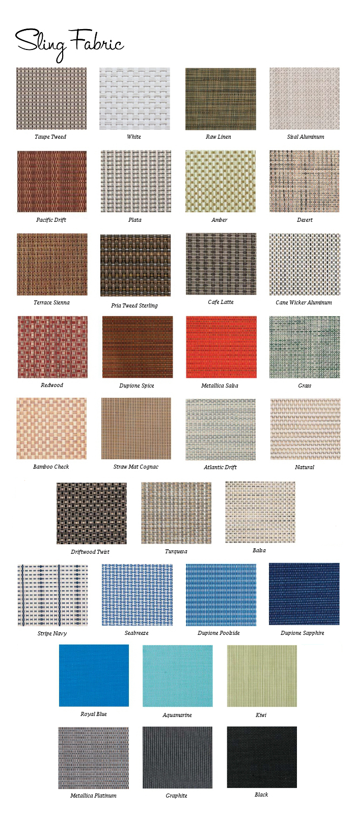 Sling Fabric Colors