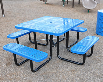 Model TP1661007 Expanded Metal Square Picnic Table