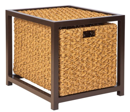 Model WCS520201 All Weather Wicker End Table W/Drawer   Glass Top